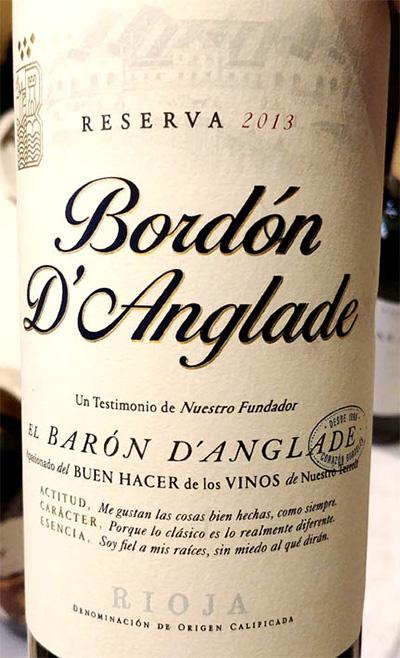 Отзыв о вине Bodegas Franco-Espanolas Bordon d'Anglade Reserva Rioja 2013