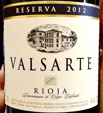 Отзыв о вине Bodegas Solana Valsarte Reserva Rioja 2012