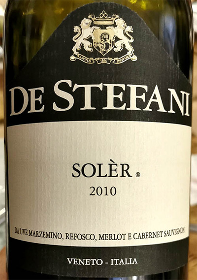 Отзыв о вине De Stefani Soler Marzemino Refosco Merlot Cabernet Sauvignon 2010
