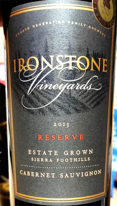 Отзыв о вине Ironstone Vineyards Cabernet Sauvignon Reserve Sierra Foothills 2013