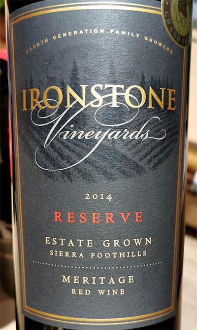 Отзыв о вине Ironstone Vineyards Meritage Reserve Sierra Foothills 2014