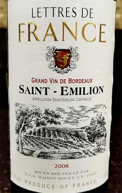 Отзыв о вине Lettres de France Saint-Emilion 2008