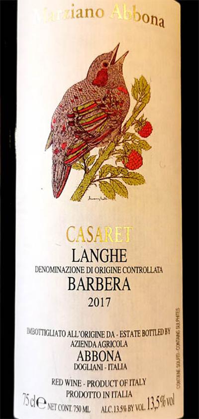Отзыв о вине Marziano Abbona Casaret Barbera Langhe 2017