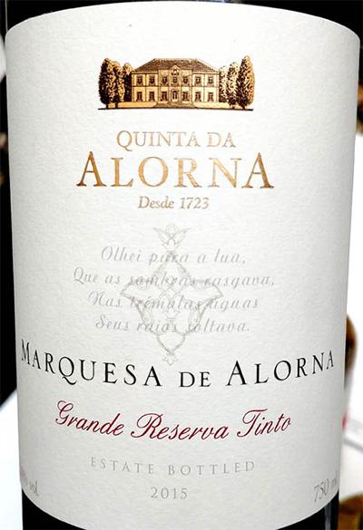 Отзыв о вине Quinta da Alorna Marquesa de Alorna Grande Reserva tinto 2015