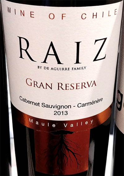 Отзыв о вине Aguirre Family Raiz Cabernet Sauvignon Carmenere Gran Reserva 2013
