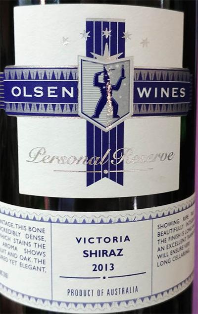 Отзыв о вине Joson Olsen Personal Reserve Shiraz Victoria Australia 2013