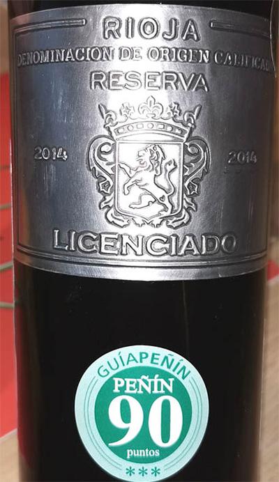 Отзыв о вине Licenciado Reserva Rioja 2014