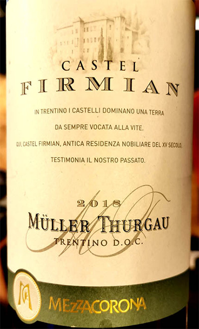 Отзыв о вине Mezzacorona Castel Firmian Muller Thurgau Trentino DOC 2018