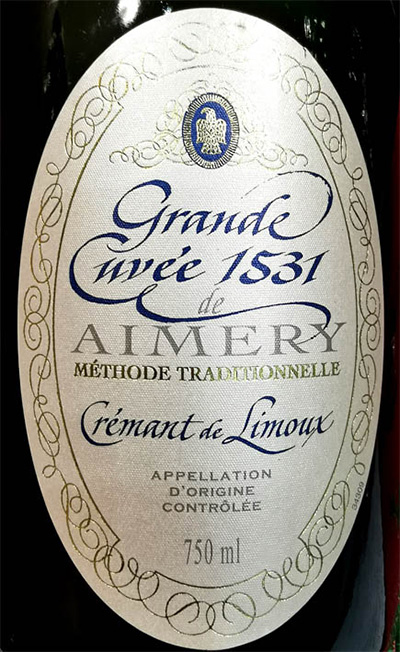 Отзыв об игристом вине Cremant de Limoux Grande Cuvee 1531 de Aimery Methode Traditionnelle