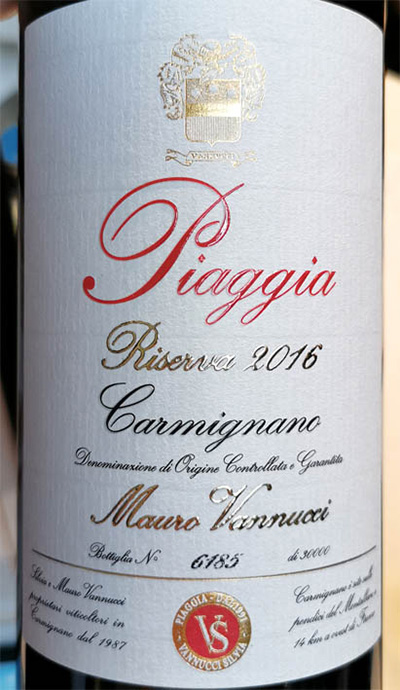 Отзыв о вине Mauro Vannucci Piaggia Riserva Carmignano 2016
