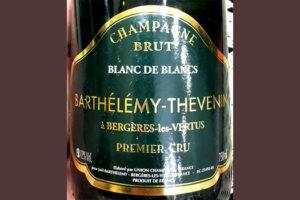 Отзыв о вине Champagne Barthelemy-Thevenin a Bergeres-les-Vertus Premier Cru Blanc de Blancs brut