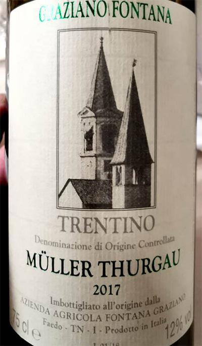 Отзыв о вине Graziano Fontana Muller Thurgau Trentino 2017