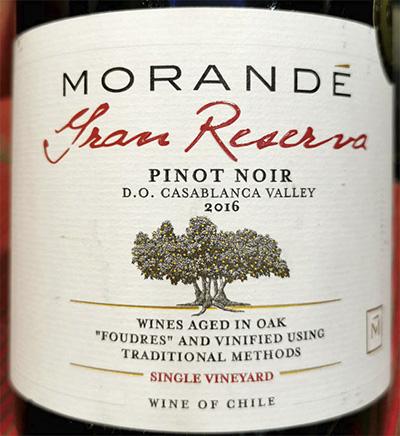 Отзыв о вине Morande Gran Reserva Pinot Noir single vineyard Chile 2016