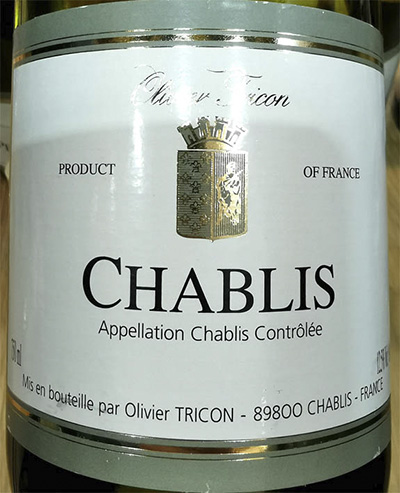 Отзыв о вине Olivier Tricon Chablis 2015