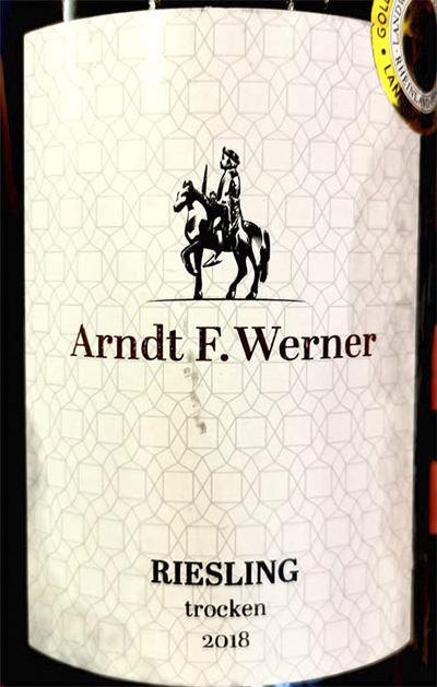 Arndt F.Werner Riesling trocken 2018 белое вино отзыв