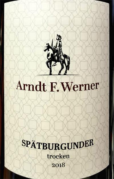 Arndt F.Werner Spatburgunder trocken 2018 красное вино отзыв