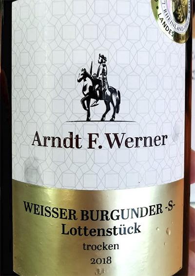 Arndt F.Werner Weisser Burgunder -S- Lollenstuck trocken 2018 белое вино отзыв