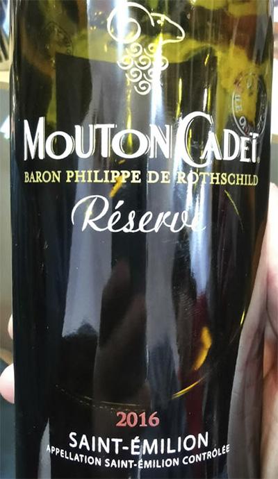 Отзыв о вине Baron Philippe de Rotschild Mouton Cadet Reserve Saint-Emilion rouge 2016