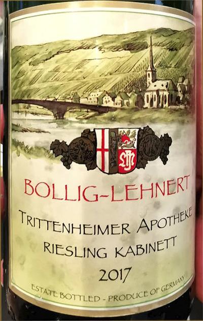 Bollig-Lehnert Trittenheimer Apotheke Riesling Kabinett Mosel 2017 белое вино отзыв