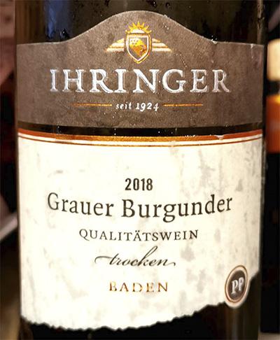 Ihringer Grauer Bergunder trocken Baden 2018 белое вино отзыв