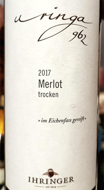 Ihringer Uringa 962 Merlot trocken 2017 красное вино отзыв