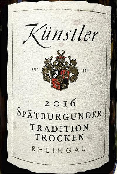 Kunstler Spatburgunder Tradition Trocken Rheingau 2016 красное вино отзыв