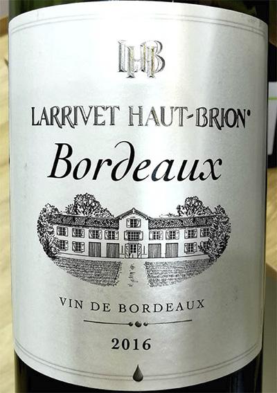 Отзыв о вине Larrivet Haut-Brion Vin de Bordeaux 2016