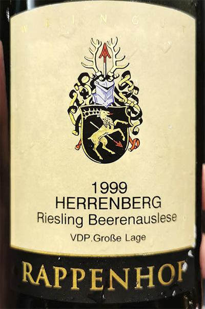 Rappenhof Herrenberg Riesling Beerenauslese VDP Grosse Lage 1999 белое вино отзыв