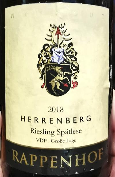 Rappenhof Herrenberg Riesling Spatlese VDP Grosse Lage 2018 белое вино отзыв