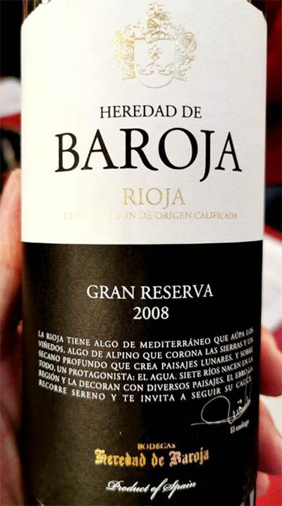 Bodegas Heredad de Baroja Gran Reserva Rioja 2008 красное вино отзыв