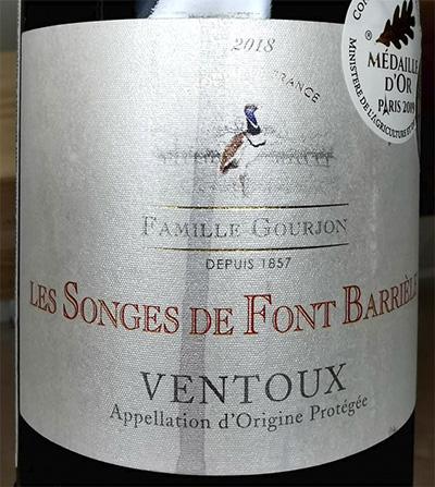 Famille Gourjon Les Songes de Font Barriele Ventoux 2018 красное вино отзыв