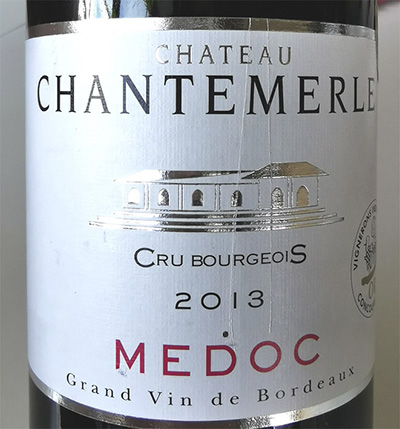 Chateau Chantemerle Medoc Cru Bourgeois Grand vin de Bordeaux 2013 Красное вино отзыв