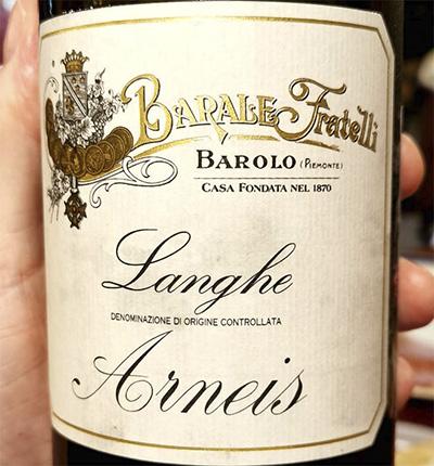 Barale Fratelli Arneis Langhe Barolo Piemonte 2018 белое вино отзыв