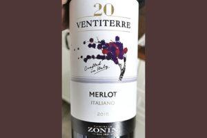 Familia Zonin 20 Ventiterre Merlot Italiano 2015 красное вино отзыв