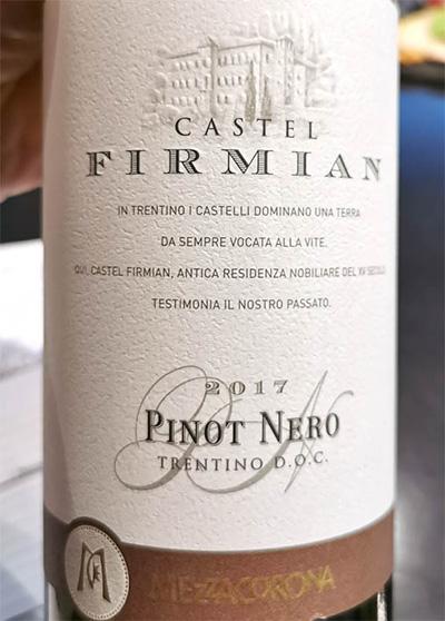 Mezzacorona Castel Firmian Pinot Nero 2017 красное вино отзыв