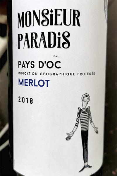 Monsieur Paradis Pays d'Oc Merlot 2018 красное вино отзыв