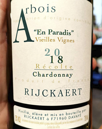 Rijckaert Arbois En Paradis Chardonnay Vieilles Vegnes 2018 Белое вино отзыв