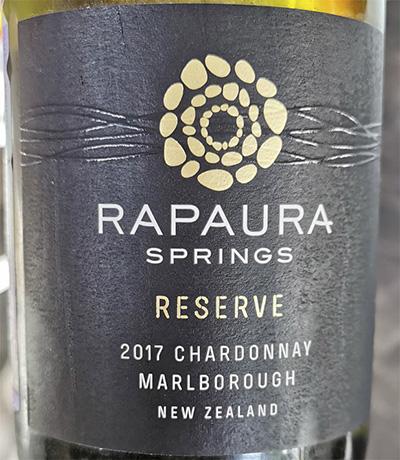 Rapaura Springs Chardonnay reserve 2017 Отзыв белое вино