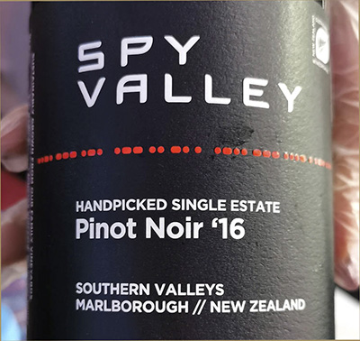 Spy Valley Pinot Noir Handpicked Single Estate 2016 Красное вино отзыв