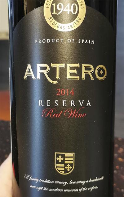 Artero Reserva red wine 2014 Красное вино отзыв