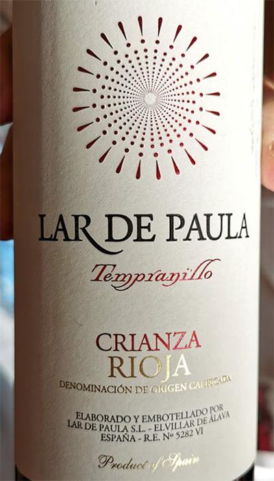 Lar de Paula Tempranillo Crianza Rioja 2014 Красное вино отзыв
