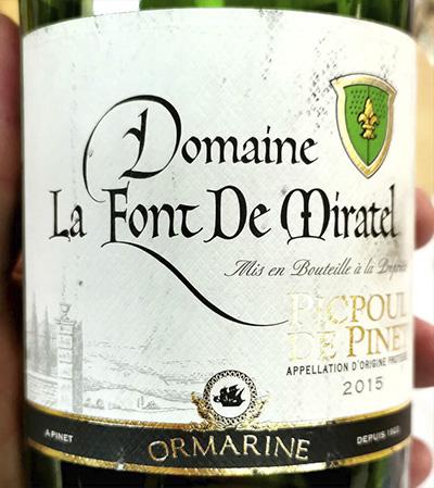 Ormarine Domaine La Font De Miratel Picpoul de Pinet 2015 Белое вино отзыв