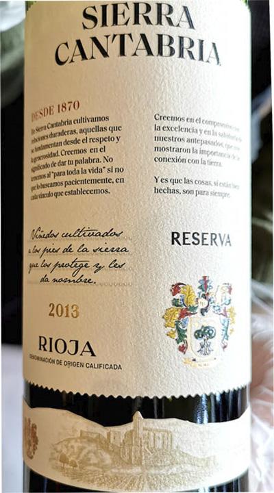 Sierra Cantabria Desda 1870 Rioja Reserva 2013 Красное вино отзыв
