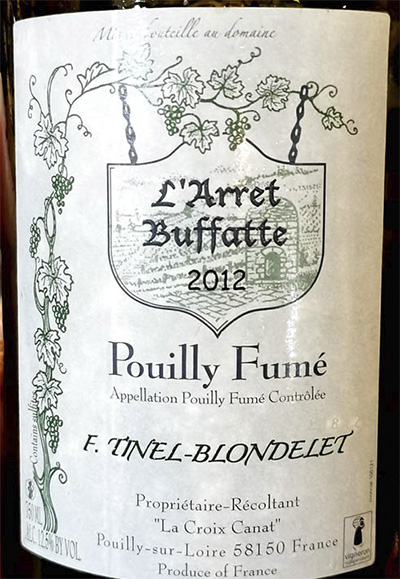Domaine F.Tinel-Blondelet L'Arret Buffatte Pouilly Fume 2012 Белое вино отзыв