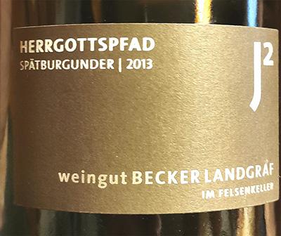 Becker Landgraf J2 Herrgottspfad Spatburgunder 2013 Красное сухое вино отзыв