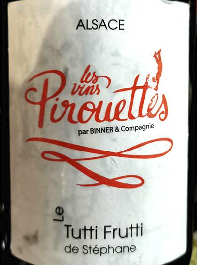 Tutti Frutti de Stephane Les Vins Pirouettes 2018 Белое сухое