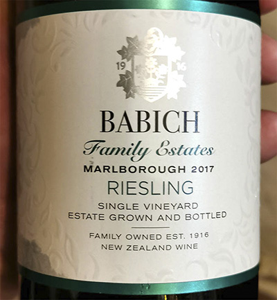 Babich Family Estates Riesling Single Vineyard 2017 Белое сухое вино отзыв