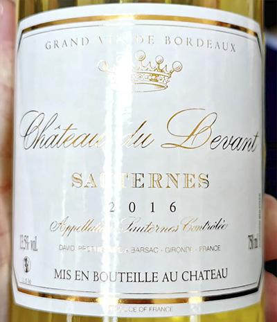 Chateau du Levant Sauternes Grand Vin de Bordeaux 2016 Белое сухое вино отзыв
