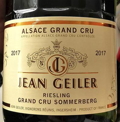 Jean Geiler Riesling Grand Cru Sommerberg Alsace Grand Cru 2017 Белое сухое вино отзыв