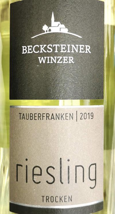 Becksteiner Winzer Riesling Tauberfranken 2019 Белое сухое вино отзыв